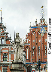 Statue Roland, Riga - the Roland statue in the center of...