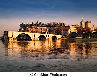 Avignon, France - The Popes palace and the St-Benezet bridge...