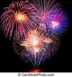 fireworks - colorful fireworks over dark sky background