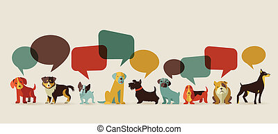 Dogs speaking - icons and illustrations - Dogs with speech...