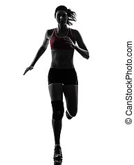 woman runner running marathon silhouette - one caucasian...