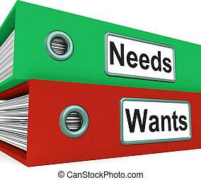 necesidades, Wants, carpetas, exposición, requisito,...