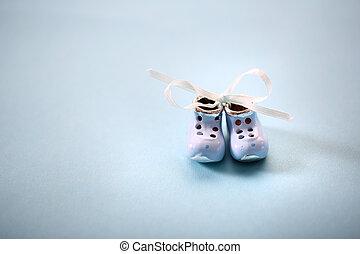 pequeno, prata, sapatos