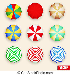 Symbol set of a parasol, top view. - Beach set symbols of...