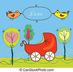 Baby birth card with pram and trees and frame for name