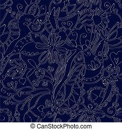 Floral seamless pattern linework ethnic design