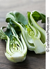 Bok choy - Close up of halved green bok choy vegetable...
