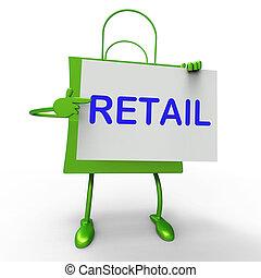 säljande, försäljningarna, väska, berätta, konsument, eller, visar