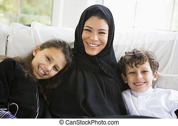 a, milieu, oriental, femme, elle, enfants