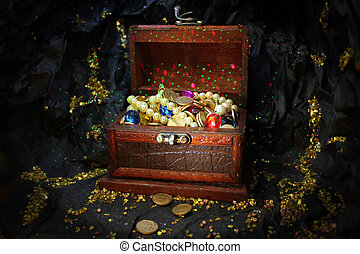 treasure box in gold mine cave - enchanted treasure box with...