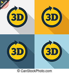 3D sign icon. 3D New technology symbol.
