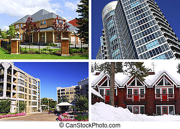 Real estate collage - Collage of different types of real...