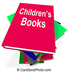 Children's Books Book Stack Shows Reading For Kids -...
