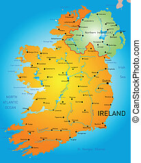 Ireland - vector detailed map of Ireland country
