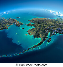 Detailed Earth. Chukotka, Alaska and the Bering Strait -...