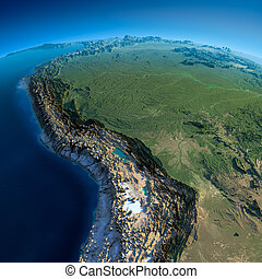 Detailed Earth. Bolivia, Peru, Brazil - Highly detailed...