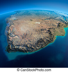 Detailed Earth. South Africa - Highly detailed planet Earth...