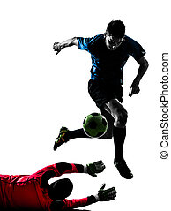 two men soccer player goalkeeper competition silhouette -...