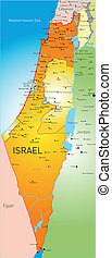 Israel - vector detailed map of Israel country