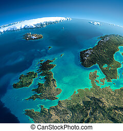 Detailed Earth. United Kingdom and the North Sea - Highly...