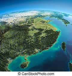 Detailed Earth. Eastern China and Taiwan - Highly detailed...
