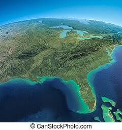 Detailed Earth. Gulf of Mexico and Florida - Highly detailed...