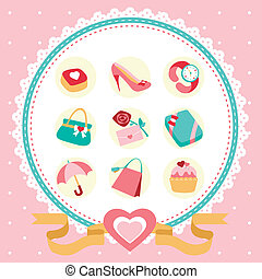 women accessories icon set