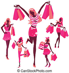 silhouette of girls with bags