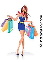 young fashion girl with shopping bags over white background