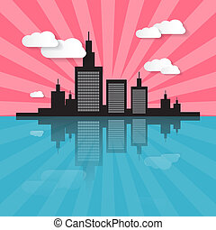 Evening - Morning City Scape Illustration