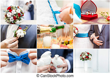 Wedding background - Collage of nine weddings photos....