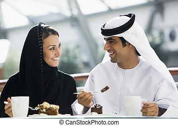 restaurant,  couple, oriental, milieu, apprécier, repas