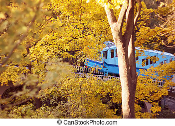 funicular railway in the city autumn park