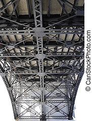 view of steel bridge from below