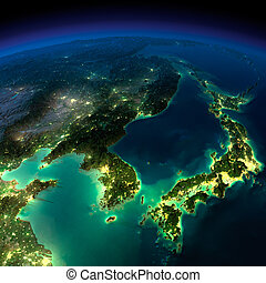Night Earth. A piece of Asia - Korea, Japan, China - Highly...