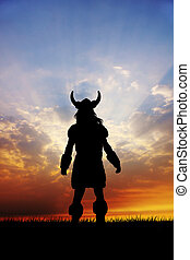 viking silhouette - illustration of viking silhouette