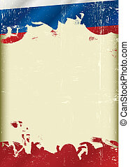 Grunge russian flag - A poster with a large scratched frame...