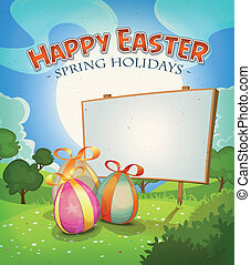 Spring Time And Easter Holidays - Illustration of a cartoon...