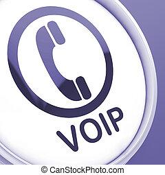 Voip, botón, medios, voz, encima, internet,...