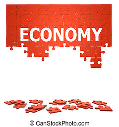 3d Economy jigsaw puzzle - 3d render of a jigsaw puzzle with...