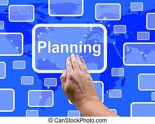 Planning  Touch Screen Shows Objectives Plan And Organize