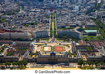 The Ecole Militaire in Paris, France. - Aerial view on Ecole...