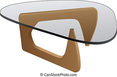 Glass coffee table for home and office. Vector clipart.