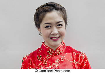 chinese young woman with tradition clothing