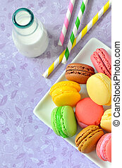 colorful macaroons - macaroons with jar glasses and straws