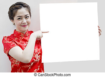 Oriental girl wishing you a happy chinese new year, with...