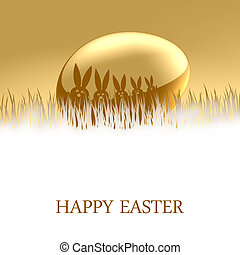 Happy Easter - A gold Easter Egg with a bunnys on top lying...