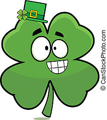 Lucky Four Leaf Clover Cartoon - Cartoon of a grinning four...