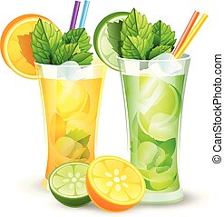 lemon and orange cocktails - vector illustration of lemon...