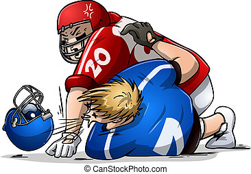 Football Players Fight and Punch - Vector illustration of...